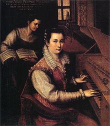 Zelfportret aan het spinet met dienstmeisje, omstreeks 1577, olie op doek